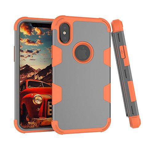 Daker - Funda para iPhone X, 3 capas, híbrida de cuerpo completo resistente [absorción de impactos] [protección contra caídas] funda protectora para Apple iPhone X 5.8', versión 2017 (naranja)
