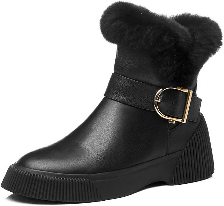 YAN Damenschuhe Flache Ferse Leder Kurze Röhre Plus Samt Schneeschuhe Schnüren Keilabsatz Schuhe Outdoor Wanderschuhe  | Online-verkauf