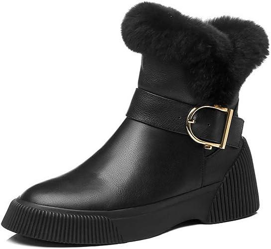Yanyan Chaussures pour Femmes Talon Plat en Cuir Tube Court Plus Bottes de Neige en Velours Chaussures à Lacets compensées Chaussures de Marche