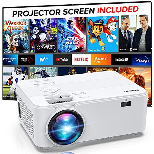 Mini Video Projector 1080P Support, Portable Projector for Home Theater, BIGASUO Outdoor Movie Projector for Android/iOS/HDMI/USB/SD/VGA [Projector Screen Included]