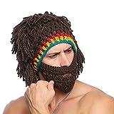 Techson Wig Beard Hats, Creative Knit Bearded Handmade Mask, Warm Rasta Cosplay Cap, Funny Party Stylish Hair Beanies