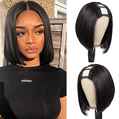 PANEWAY Straight Bob Human Hair Wigs With Bangs Brazilian Human Hair Short Bob Wigs For Black Women Natural Color 150 Density