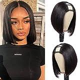 PANEWAY U Part Wig Human Hair Wigs For Black Women 10 inch Short Bob Straight Wig Brazilian Remy Human Hair Bob Wigs Clip in Half Wig U Part Hair Extensions Natural Color
