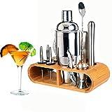 12-teiliges Cocktail Shaker Edelstahl Barkeeper Cocktail Mixer Cocktailshaker Set Shakerset Geschenk für Zuhause oder Professioneller Bar Zubehör mit Bambus Ständer