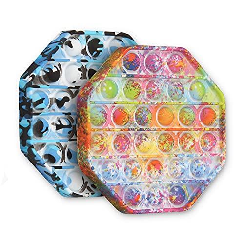 OKSANO Juguete Pop it Fidget, Push Pop Pop Bubble Sensory Fidget Toy 2 Pcs, Juego de Mesa Pop it para aliviar el estrés y la ansiedad, Juguetes Sensoriales para Niños y Adultos (Acuarela 2pcak)