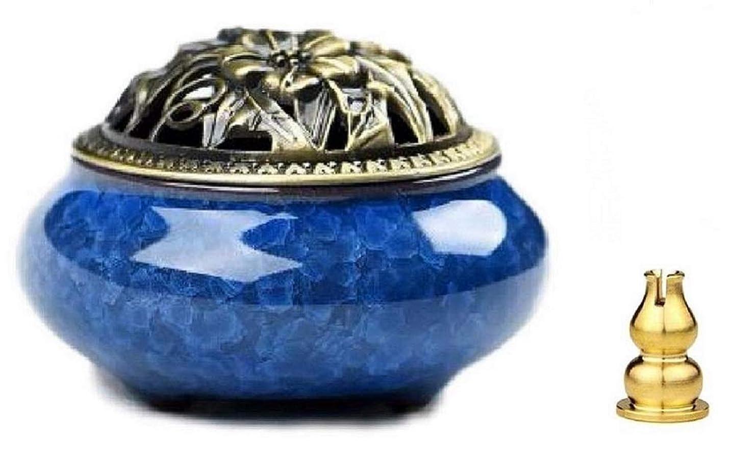 インスタント電気ピンポイント陶磁器 香炉 青磁 丸香炉 お香立て 渦巻き線香 アロマ などに 香立て付き (青色)
