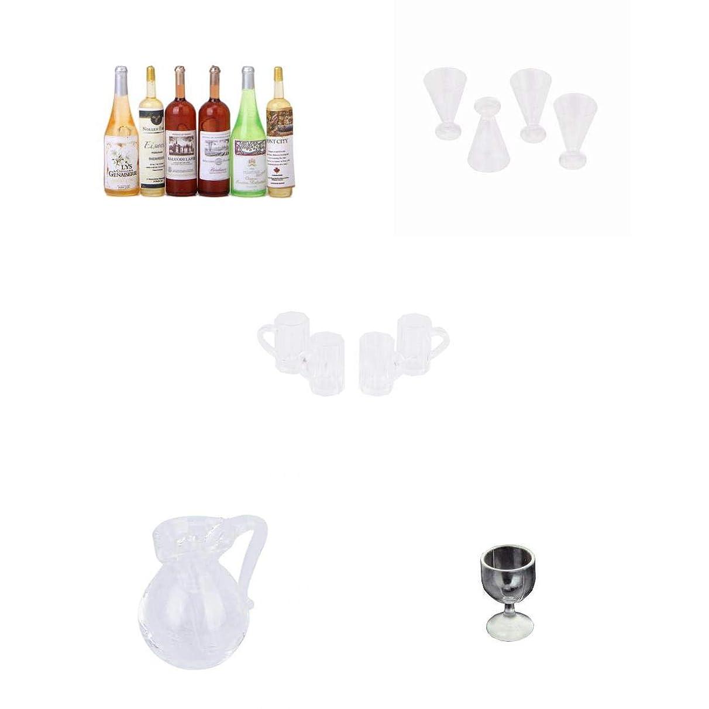 インキュバスより良い分割#N/A 6ピース/個カラフルなワインボトルドールハウスミニチュアセット+4ピース/個 ドールハウス フルーツジュースカップ 1/12 手作り アクセサリー+ドールハウス用品/ビールジョッキ小物+セット ドールハウス  食器 飲酒ガラ
