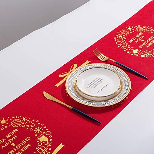 BBsmila Corredor de la Tabla Navidad Camino de Mesa Estampado de Copo de Nieve Largo Decoración para Gabinete Comedor Mantel (270X28cm) (E, 270_x_28_cm)