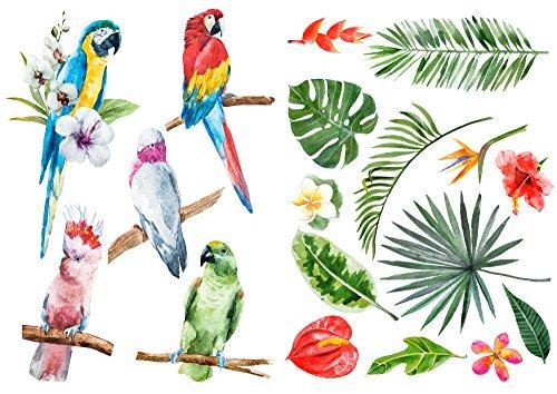 Décoration adhésive Nature Tropicale, Polyvinyle, Multicolore, 21 x 0.1 x 29.6 cm, 157171