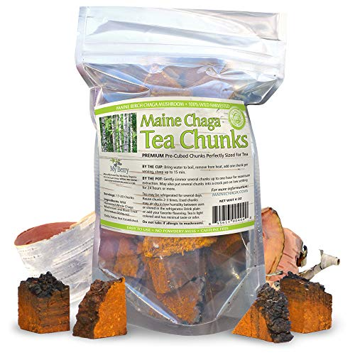 Maine USA Chaga Mushroom Tea Chunks, 4oz, Wild Harvested, No Pesticides