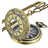 LYMFHCH Vintage Pocket Watch Roman Numerals Scale Quartz Pocket Watches with Chain Christmas Graduation Birthday Gifts Fathers Day