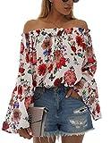 BMJL Women's Long Sleeve Hawaiian Shirts Cute Off The Shoulder Tops Loose Floral Blouse Tees(M,Multi)