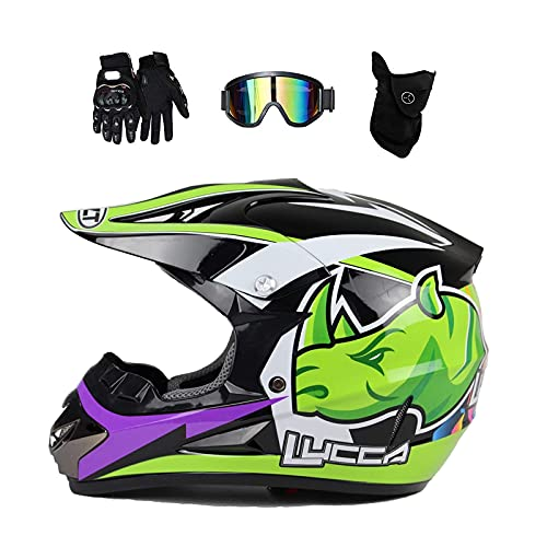 MCRUI Casco Fullface MTB, Casco de Motocross, Casco Cuesta Abajo, Casco Cruzado para niños con Gafas, Guantes, máscara, cáscara de ABS y EPS para Mayor Seguridad,L