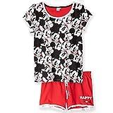 Ropa de dormir original de Disney, Conjunto de pijama de manga corta, con pantalones y camiseta, para mujer, 100 % algodón, Mickey Minnie, Mouse, S-XL Rojo rosso L
