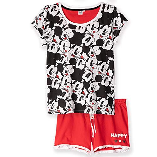 Ropa de dormir original de Disney, Conjunto de pijama de manga corta, con pantalones y camiseta, para mujer, 100 % algodón, Mickey Minnie, Mouse, S-XL