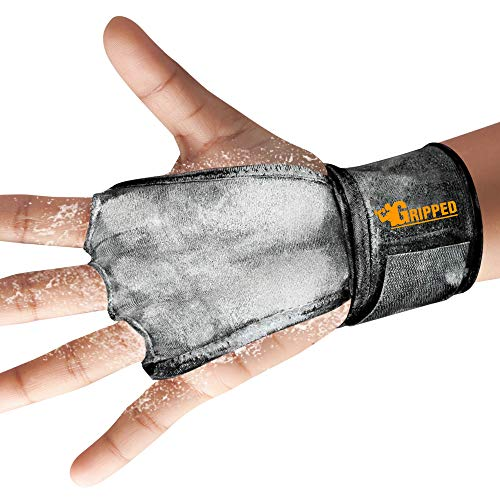 Cross Fit Gloves for Men and Women Hand Grips Gloves 2 in 1 Hand Grips with Wrist Wraps Palm Protectors for Fitness Cross Fit Cardio – 3-Finger Coverage – Hook and Loop Fastener (Black, Medium)