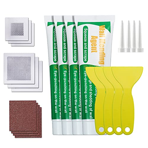CAMTOA Wall Mending Agent, Drywall Repair kit with Safe Mend 4 Pack Wall Repair Cream Putty, Wall Surface Repair Plaster, Drywall Patch Spackle with Scraper Waterproof and Sandpaper