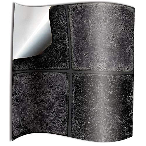 Tile Style Decals 24 stück Fliesenaufkleber für Küche Bad Wandfliese Aufkleber für 15x15cm Fliesen Fliesen-Aufkleber Folie Deko-Fliesenfolie für Küche Bad - Schwarzer Stein