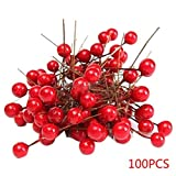 100pcs Artificielle Mousse Rouge Vif Baies Floral Bouquet de Houx Accueil Garland de Noël Décoration Florale Bouquet Fruit Berry