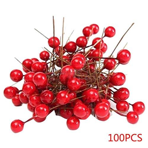 wufeng 100pcs Artificial Espuma Rojo vívido Bayas del Acebo Inicio Garland Decoración de Navidad del Ramo Floral de la Baya de la Fruta