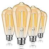 Dimmable LED Edison Light Bulbs 100W Incandescent Equivalent, Vintage Light Bulb 2700K Warm White(Amber Glass), ST64/ST21 LED Filament Bulbs 8W 1200LM, E26 LED Edison Bulbs for Home, Reading 4-Pack