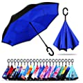 Owen Kyne Windproof Double Layer Folding Inverted Umbrella, Self Stand Upside-Down Rain Protection Car Reverse Umbrellas with C-Shaped Handle (Sapphire Blue)