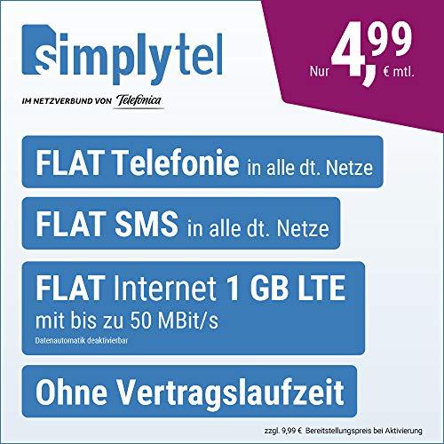 Handyvertrag simplyTEL LTE 1000 - ohne Vertragslaufzeit (FLAT Internet 1 GB LTE mit max. 50 MBit/s mit deaktivierbarer Datenautomatik, FLAT Telefonie, FLAT SMS und EU-Ausland, 4,99 Euro/Monat)