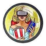 4 pomos redondos para armario, cajón, puerta, tirador para mujer con gafas de realidad virtual, 35 mm