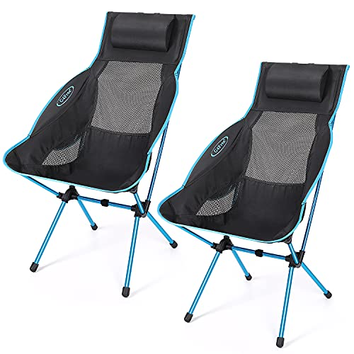 G4Free 2Pack Folding Camping Chair, High Back Lightweight Camp Chair with Removable Pillow, Side...