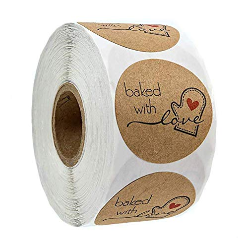 500pcs Pegatinas Etiqueta Adhesiva Pegatina Rollo, redondas, Kraft Baked with Love Handmade Stickers Labels Roll para Sello Scrapbooking Regalo Bolsa Recuerdo Boda Fiesta Aniversario Cumpleaños