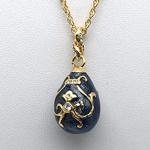 Keren Kopal Collar con colgante de huevo azul Fabrege, regalo de amor para su esposa madre, regalo especial chic decorado con cristales de Swarovski
