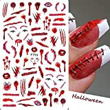 Halloween Nail Art Stickers Decals Halloween Nail Accessories Decorations Blood Scar Designs 3D Self-Adhesive Scar Black Snake Halloween Horror Decor Skull Sliders 5 Sheets