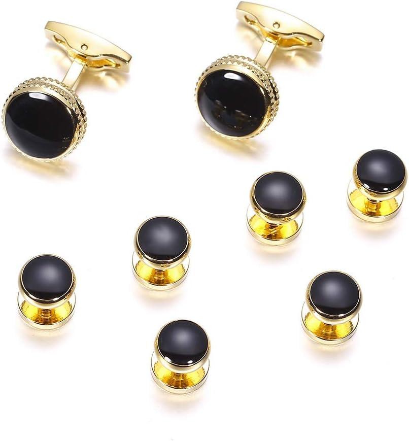 YADSHENG Cufflinks Black Cufflinks and Tuxedo Studs Set Men's Dress Best Shirt Studs Wedding Business Accessories Cuff Links (Color : Black, Size : 15×15mm)