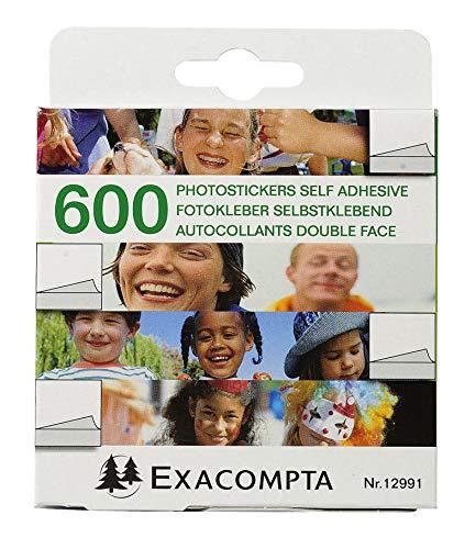 Exacompta - Réf. 12991E - 1 boîte de 600 autocollants photos double face prédécoupées - Blanc - sous film par 10 - Emballage : boîte distributrice carton