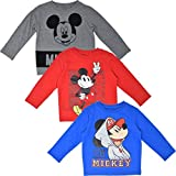 Disney Mickey Mouse Toddler Boys Long-Sleeve 3 Pack T-Shirts Red/Blue/Grey 3T
