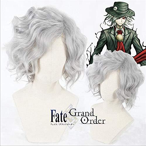 Monte Cristo Edmond Dantes Cosplay peluca Fgo Fate Grand Order Servant Avenger peluca de pelo sinttico plateado corto y rizado + gorro de peluca 331A