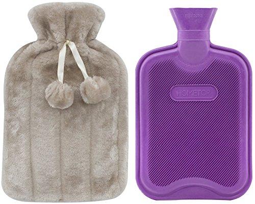 HomeTop Premium Classic Rubber Hot Water Bottle and Luxurious Faux Fur Plush Fleece Cover w/Pom Pom Decor (Beige)