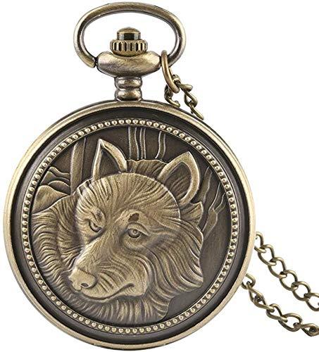 ADSE Vintage Bronze Wolf Muster Taschenuhr Männer Frauen Quarzuhren Geschenk