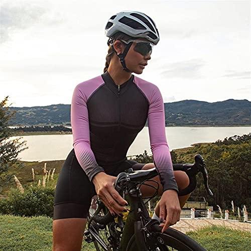 Triathlon Damen Radsport Overall Langarm Fahrradbekleidung Fahrradtrikot Sets Reittrikot Skinsuit Anzug (Color : 8, Size : M)
