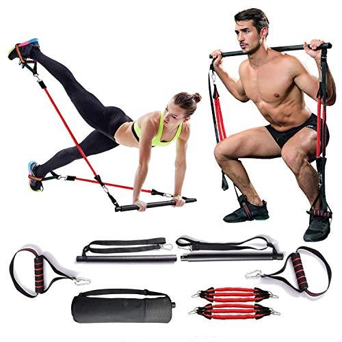 Pilates Bar Kit, banda de resistencia al ejercicio de sentadillas y glúteos para mujeres y hombres, entrenamiento de yoga Stick Fitness Bar Kit para estiramiento corporal,esculpir