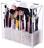 Covered Makeup Brush Holder with Dustproof Lid, Pearls Beads, Large Capacity Acrylic Clear Cosmetic Brush Storage Organizer for Vanity