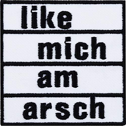 Aufnäher: Like Mich AM Arsch DIY Aufbügler Biker Rocker Punks Heavy Metal Patch Flicken Mittelfinger lustiges Bügelbild Sticker Abzeichen Applikation für Kleidung/Kutten/Jeans/Taschen 60x60mm
