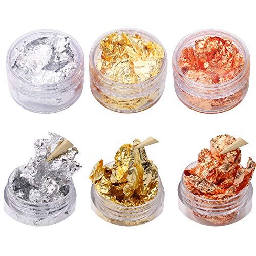 VGSEBA Imitation Gold Flakes, 3 Pots Gold, Silver Flake, Copper Nails Flakes for DIY Nail, Resin, Art Stickers Decoration