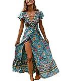 Vestidos Mujer Casual Verano Bohemio Largo Floral Wrap High Slit Manga Corta Cuello en V Talla Vacaciones Cóctel Maxi Vestido