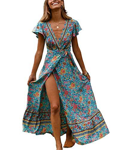 Naliha Vestidos De Playa para Mujeres Floral Wrap High Slit Vacaciones Cóctel Maxi Vestido Azul L