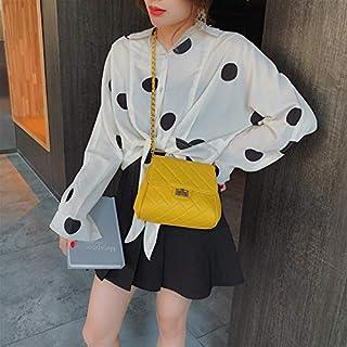 Adebie - Crossbody Bag Girls Ins Female Small Chain Bag 2019 New Shoulder Plaid Handbag PU Flap Fashion Totes Women's Solid Messenger Bag Yellow []