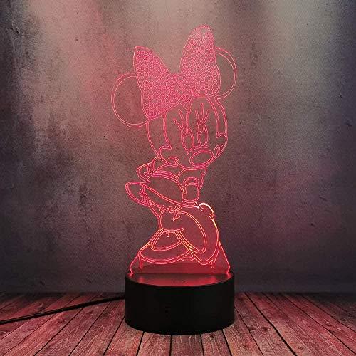 Lovely Minnie Mouse Mickey Dancing 3D Lámpara Flash Ilusión óptica LED Luz de noche Niñas Nursery Escritorio Lámpara de mesa Colorido Touch Control remoto Base Lámpara USB Decoración