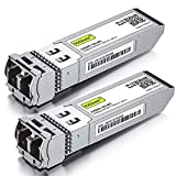 10GBase-SR SFP+ Transceiver, 10G 850nm MMF, up to 300 Meters, Compatible with Cisco SFP-10G-SR, Meraki MA-SFP-10GB-SR, Ubiquiti UF-MM-10G, Mikrotik, Netgear and More, Pack of 2
