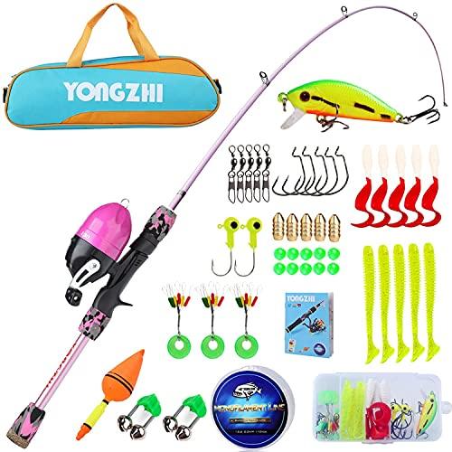 Sougayilang Cañas de pescar para niños, caña de pescar telescópica portátil y combo de carrete, con señuelos de línea de pesca Bolsa de aparejos de pesca Spincast para jóvenes, niñas y niños-P