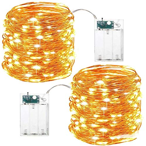 LED Fairy Lights, 10 m 100 LED Copper Wire Fairy Lights, Christmas Fairy Lights, Power Operated Fairy Lights for Indoor and Outdoor Power-Operated, Waterproof, Party, Lighting Decoration